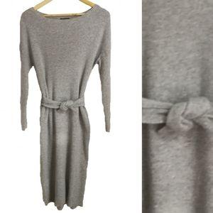 Massimo Dutti Grey Wool Knit Bodycon Dress, size S